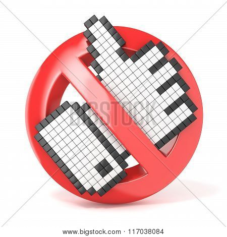 Forbidden sign with like cursor. Dislike concept. 3D