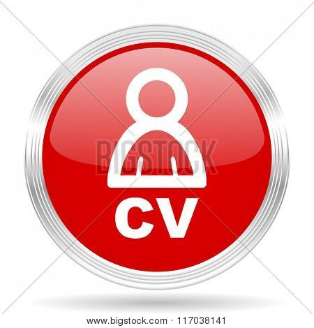 cv red glossy circle modern web icon on white background