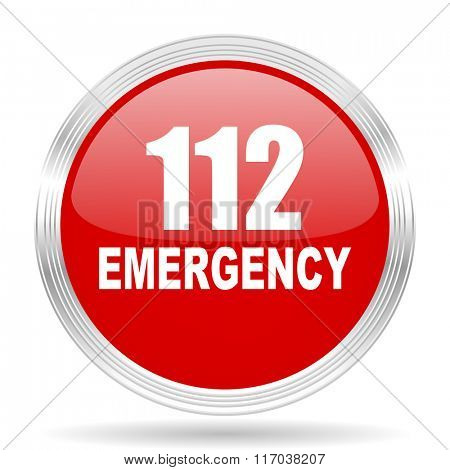 number emergency 112 red glossy circle modern web icon on white background