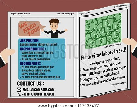 Job Finder Advertisement On Newspaper