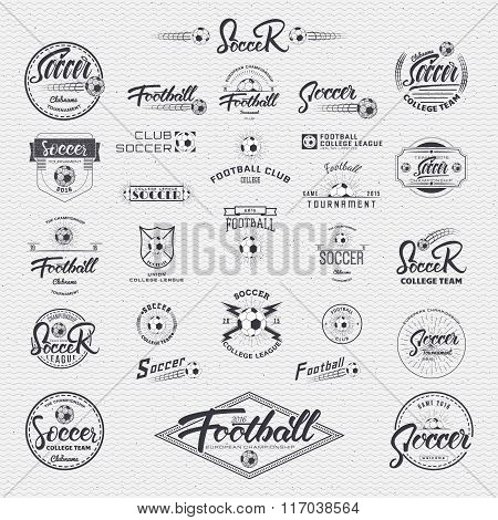Football, Soccer Hand lettering badges labels can be used for design, presentations, brochures, flye