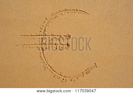 Sign Of Euro Currency  Drawn In The Sand