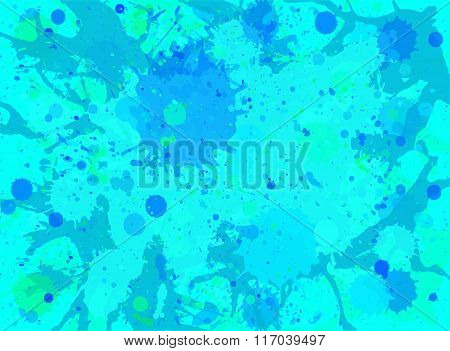 Blue Watercolor Paint Splashes Background