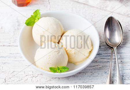 Vanilla Ice Cream with Mint in bowl Homemade Organic product
