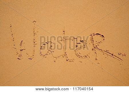 Sign Water Writen On Beach Sand