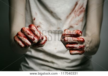 Bloody Theme Lone Murderer: The Murderer Shows Bloody Hands And Experiencing Depression And Pain