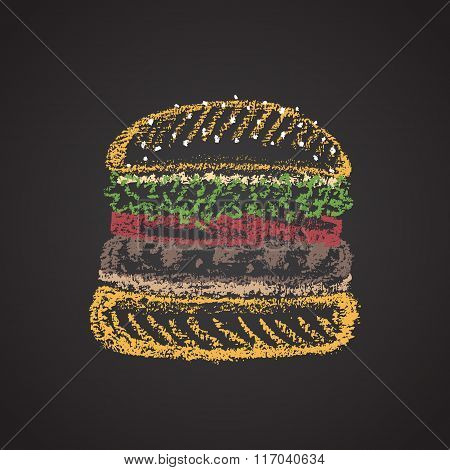 Chalk painted colorful illustration of burger.