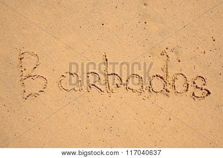 Barbados Text In Sand On Beach