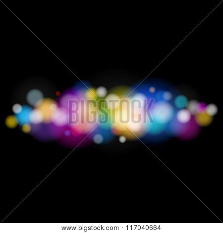 Bright Defocused Lights on Black Background