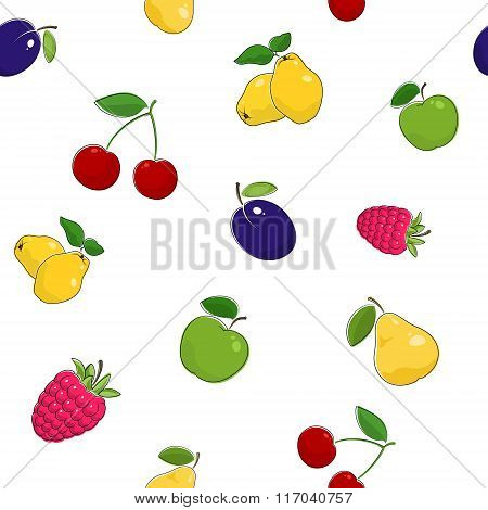 Seamless Pattern of Fresh Fruits