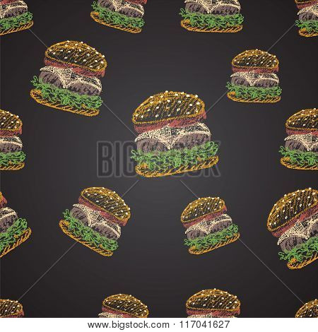 Chalk painted colorful illustration of cheeseburger. Seamless pattern.