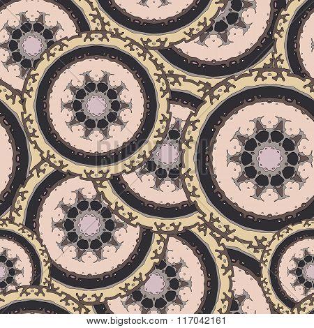 Seamless pattern with hand drawn mandala