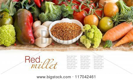 Uncooked Red Millet In A Bowl With Vegetables