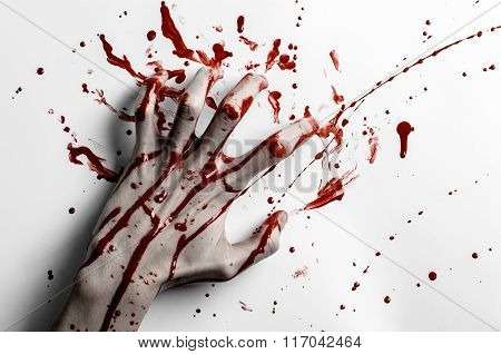 Bloody Halloween Theme: Bloody Hand Print On A White Leaves Bloody Wall