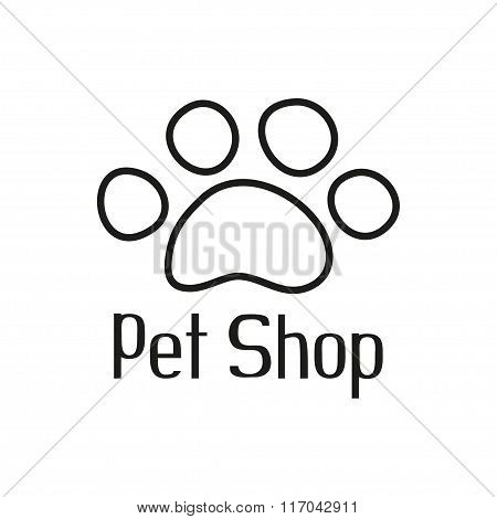 Pet shop logo with pet paw