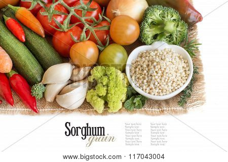 White Sorghum Grain In A Bowl With Vegetables