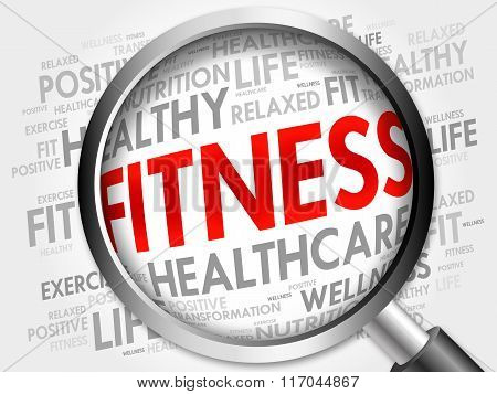 Fitness Word Cloud With Magnifying Glass