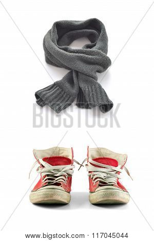 Red shoes with white laces & warm green scarf. Second hand.