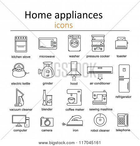 Icon set of home appliances.