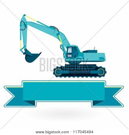 Blue big digger builds roads gigging of hole ground works on white.