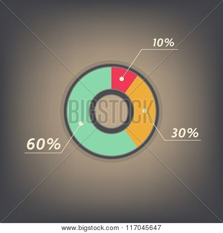 Infographics Vector 10%, 30%, 60%  Red, Yellow, Green And Grey Pie Chart Isolated