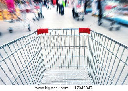 Empty Trolley In Supermarket