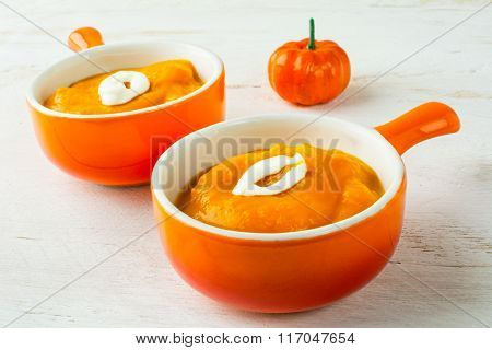 Two Portions Of Pumpkin Soup