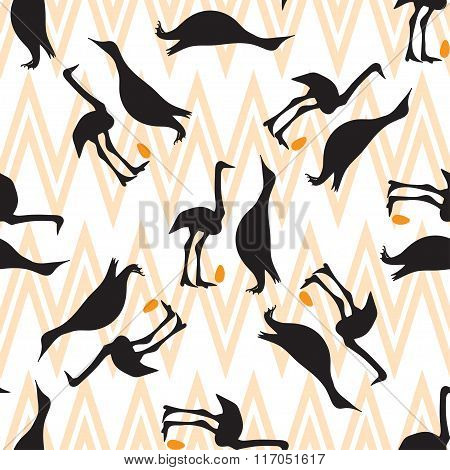 Seamless Vintage Pattern With  Penguin And Ostrich