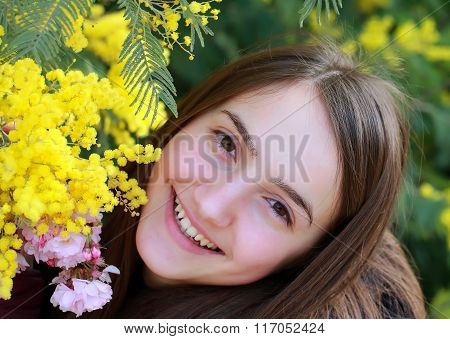 Happy Woman In The Spring