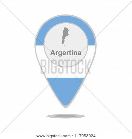 A pointer with map and flag of Argentina