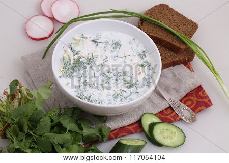 Okroshka On Kefir With Black Bread