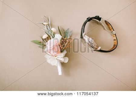 Wedding boutonniere on background