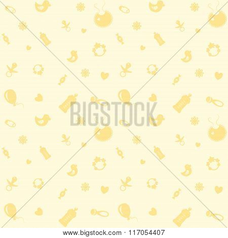 Background With Symbols Of A Newborn Baby.