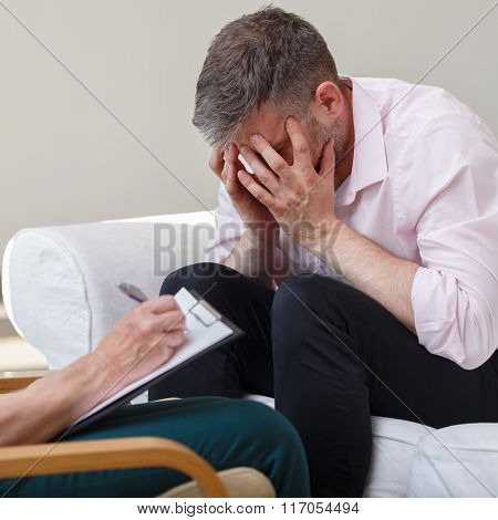 Despair Young Male With Therapist