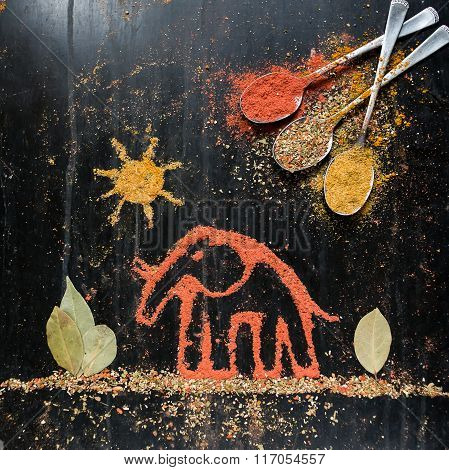 Elephant from spice ingredients for cooking
