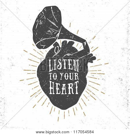 Romantic Poster With Human Heart And Gramophone Horn.