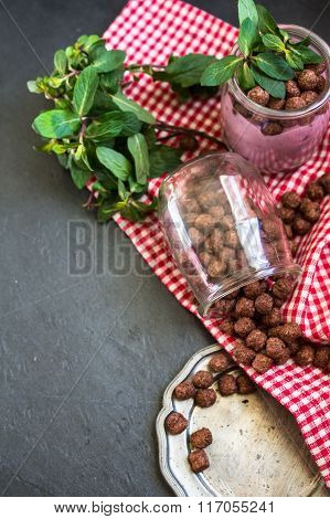 Healthy Breakfast With Chocolate Flakes