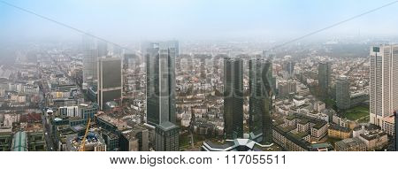 City Frankfurt skyline in fog