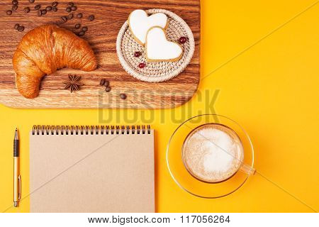 Eco notebook with cappucino