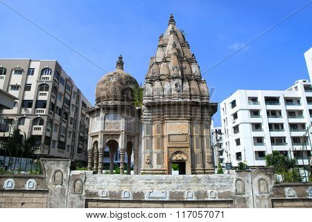 Historic hindu temple in the middle of apartment buildings in Visakhapatnam, India