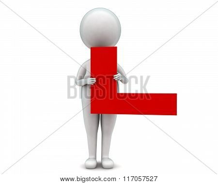3D Man Holding L Shaped Board In Hands Concept