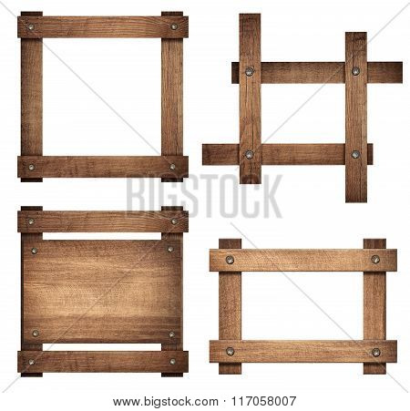Set of brown wooden signboard and dark frames are isolated on white background