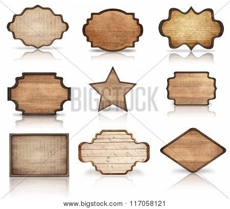 Brown wooden boards, signboard, planks. star and dark frames are isolated on white background
