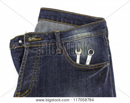 Wrench Tools In Jean Pants Isolated On White Background Clipping Path