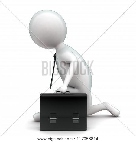3D Man Holding A Briefcase And Getting Ready For Race Concept