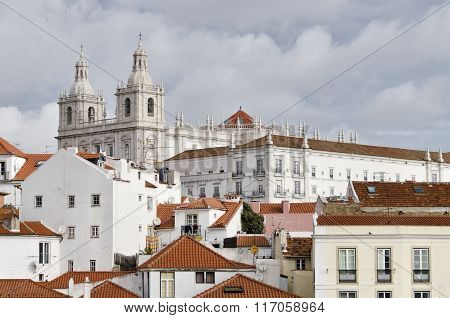 Overview Of The Alfama District, In Lisbon Portugal