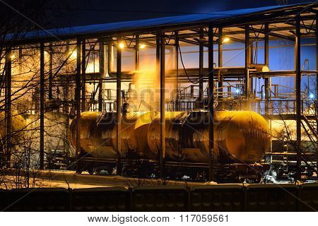 Steaming Railway Gas Tanks In A Oil Tanking Shed On A Frosty Winter Night