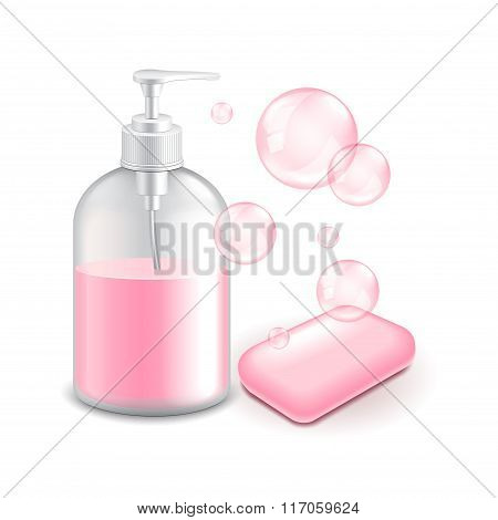 Soap And Bubbles Isolated On White Vector