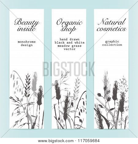Set Of Banners With Grass Silhouettes