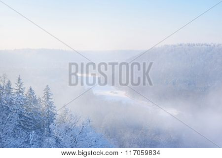View Of Gauja River Valley In A Winter Wonderland With Frosty Fog